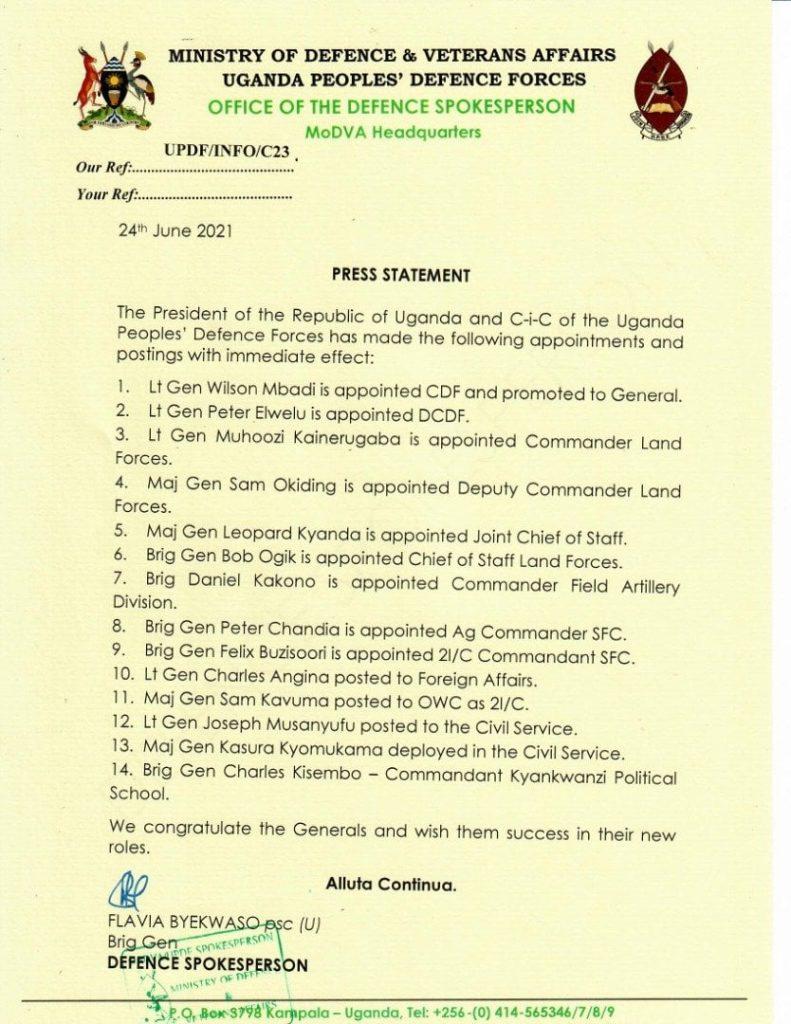 Lt. Gen Wilson Mbasu Mbadi named the new CDF