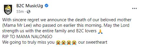 Sad News: B2C's Singer Mr Lee's Mother is dead