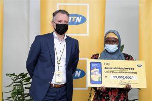 MTN Uganda rewards UGX 15 million to its 15 millionth subscriber