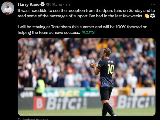 Harry Kane to stay at Tottenham Hotspurs