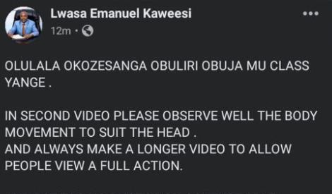 Lwasa Emmanuel Denies being in the viral sex video