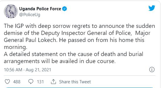 Just In: Deputy Inspector General of Police,  Major General Paul Lokech is dead